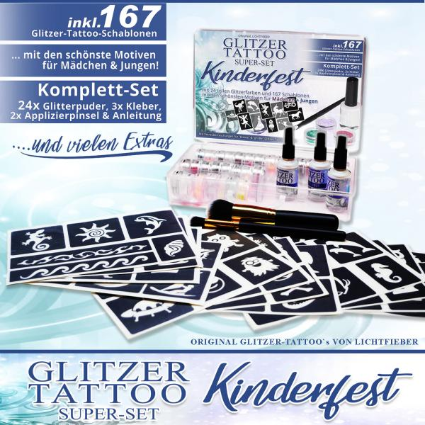 "GlitterTattoo Set ""Kinderfest"" with 167 stencils / Glitter-templates, 24 glitter colours 3x glue for celebrations, birthdays, kindergartens & companies"